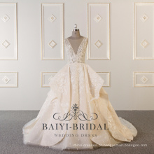 Alibaba Beaded Ball Sexy V profundo pescoço Ruffled Custom Made Vestido De Noiva