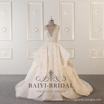 Alibaba Beaded Ball Sexy Deep V-neck Ruffled Custom Made Wedding Dress