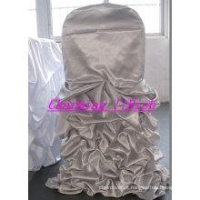 charmosa capa de cadeira babados de cetim para casamento/banqet