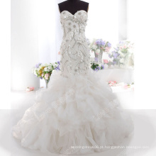LS0119 Real fábrica vestido de casamento rendas appliqued handmade flor vestido de casamento de strass sereia vestido de noiva com ruffles