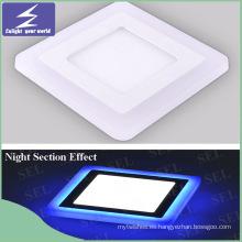 Azul Blanco Color Cuadrado Ultra Delgado Panel LED Celining Downlight