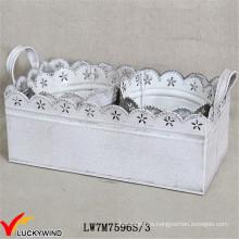 S / 3 Shabby Chic White Metal planter de hierro con bandeja