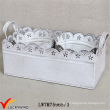 S / 3 Shabby Chic White Metal Iron Planter avec bac