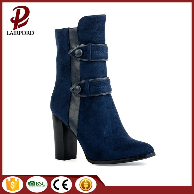 chunky heel faux suede hot sale boots