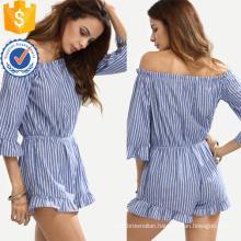 Blue Striped Off The Shoulder Flounce Jumpsuit OEM/ODM Manufacture Wholesale Fashion Women Apparel (TA7007J)