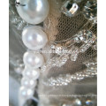 RSW851 Deep Neckline Sheer Back Pearls Button Embroidery Bling Luxury China Custom Made Wedding Dress Ball Gown