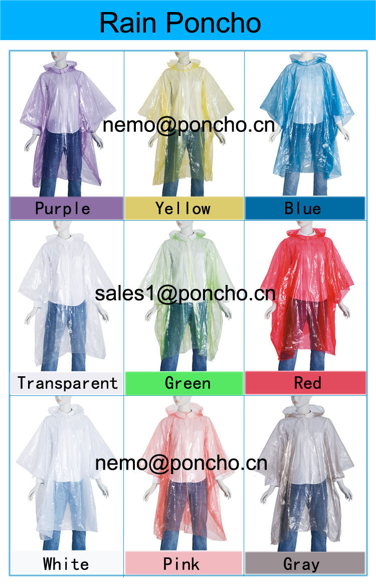 different customer color disposable rain poncho