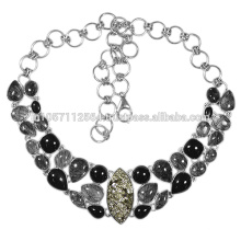 925 Sterling Silver with Black Onyx & Tourmalinated Quartz Gemstone Necklace