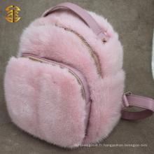 Sac à dos en fourrure rétro et personnalisé en vrac pour les sacs à dos en peau de sport Mink