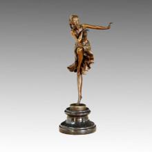 Tänzerin Statue Freude Tanzen Bronze Skulptur, DH Chiparus TPE-466