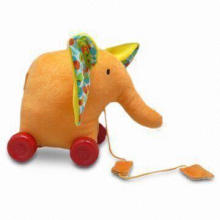 Pull Along Soft Toy in Elephant Design, Suitable for Babies, with Removable Wheels