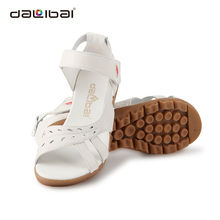China sapato fábrica atacado mulheres branco couro sandálias médicas