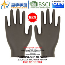Black Color, Powder-Free, Disposable Nitrile Gloves, 100/Box (S, M, L, XL) with CE. Exam Gloves