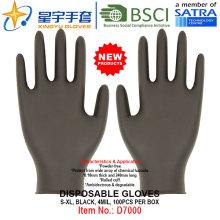 Черный цвет, одноразовые нитриловые перчатки без порошка, 100 / коробка (S, M, L, XL) с CE. Перчатки экзамена