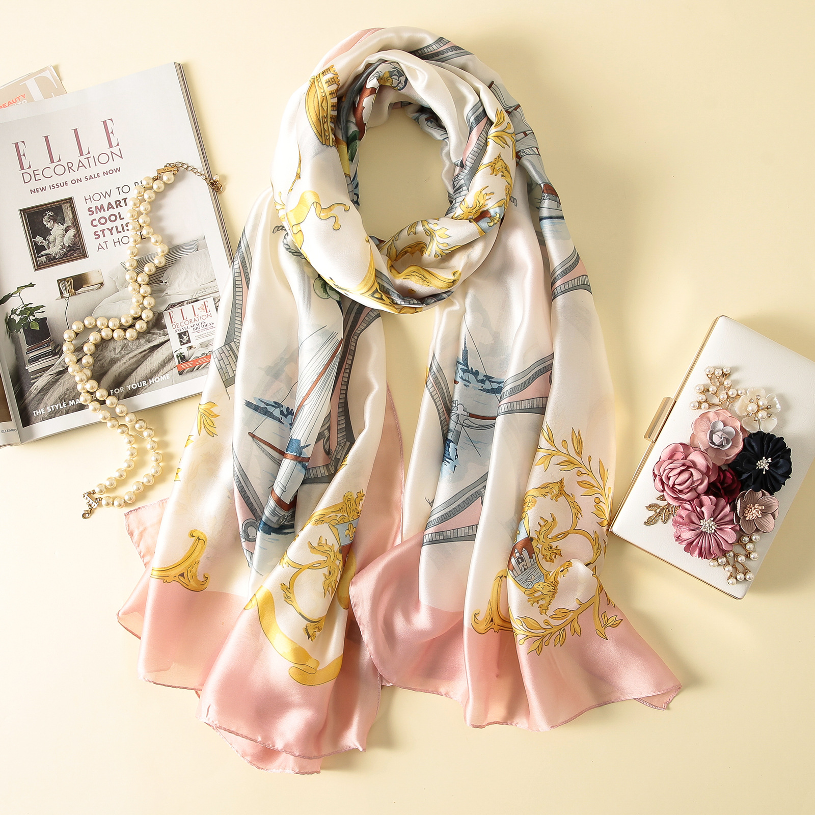 Imitation silk scarf sun block beach towel (4)