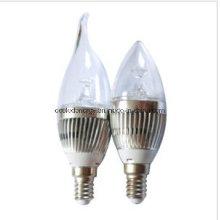E27 3W com luz de vela de alumínio LED