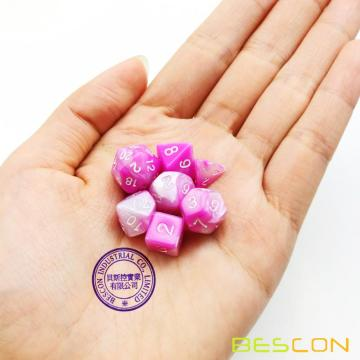 Bescon Mini Gemini Two Tone Polyhedral RPG Dice Set 10MM, Small Mini RPG Role Playing Game Dice Set D4-D20 in Tube, Pink Blossom