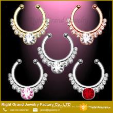 Oro, plata, clip de oro rosa en tabique de joyería del cuerpo tribal