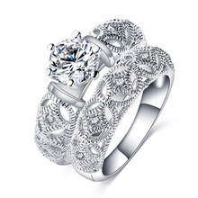 Silber Pave Amethyst Stein Mens Ehering Sets Designs (CRI0485)