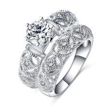 Серебро Паве Аметист камень свадебное кольцо наборы образцов (CRI0485)