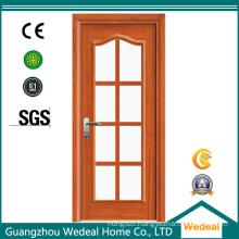 Fiberglass/Glass Wooden Full Lite Interior Door for Hotel Project
