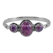 Pierres précieuses en turquoise en cuivre violet avec bracelet en argent sterling 925 Bracelet plat