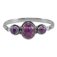 Purple Copper Turquoise Gemstone with 925 Sterling Silver Bezel Set Plain Bangle