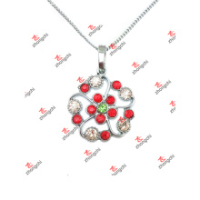 Custom En alliage Birsthstone Flower Charms Chain Necklace (CBF60128)