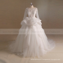 Luxury royalable bling bead and lace ruffle wedding party dress with a long train
