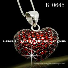 Красный Любовь стерлингового серебра 925 подвеска (B-0645E)