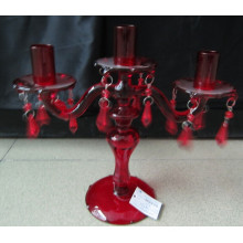 Painting Red Glass Candle Holder with Three Poster