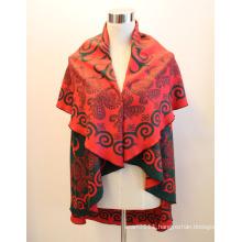Lady Fashion Round Viscose Woven Jacquard Shawl Cape (YKY4417)