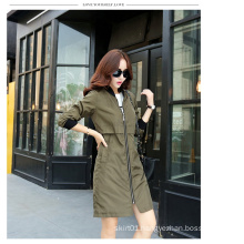 2015 Autumn Ladies Fashion Zipper Long Jacket