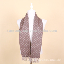 men's jacquard wool scarf in camel color