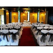 100 % polyester couvre chaise, hôtel/Banquet/mariage chaise couvrir, ceinture d'Organza