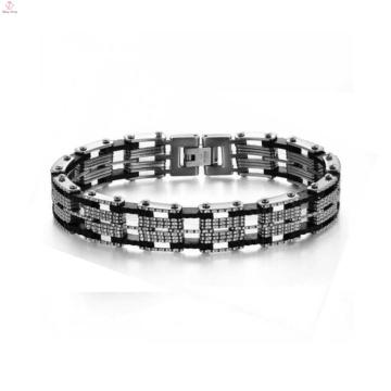 Moda artesanal jóias círculo pulseira cadeia de bicicleta de aço inoxidável