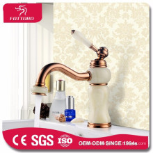 Luxury gold deck mounted crystal faucet for basin
