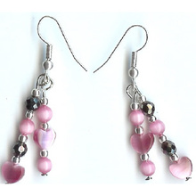 Hematite Earring With 925 Hotpink Silver Hook