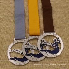 Medalha barata de 2 polegadas Metal Hollow medalha de ouro prata Bronze