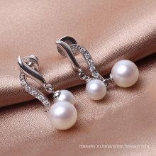 Серебряные серьги с двойным жемчугом