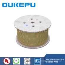 Flat Glass fiber covered aluminium wire ,rectangular size fiber glass ,yarn covered square diameter