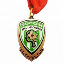 Fábrica barato ouro lasca de bronze bronze personalizado medalhas de esmalte de futebol