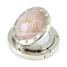 Gancho redondo da bolsa do diamante para presentes de casamento com espelho