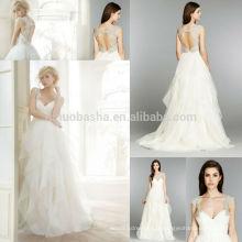 Fancy A-Line Vestido de casamento com Crystal Accent 2014 V-Neck plissado Bodice Ruffled saia Tulle Organza longo nupcial vestido NB0676