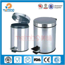 round stainless steel trash can, dustbin, colorful garbage can
