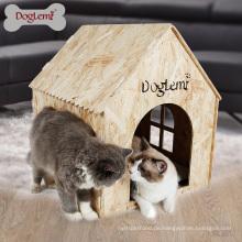 Faltbares Katzenhaus im Freien 7MM OSB Natur-hölzernes großes Hundehaus