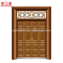 High Quality Manufacture copper Color Powder Coated main door with glass