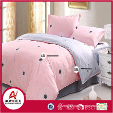A-B side grey and pink with dandelion ,75gsm 100% polyester king size bedsheet set,4 pcs high quality bedsheet set