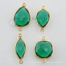 Gold Vermeil Natural Esmeralda Cristal Bisel Ajustar Gemstone Conectores Venta al por mayor Precio barato Joyería Proveedores y Fabricante