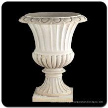 Vaso de mármore branco de pedra natural de decoração de jardim